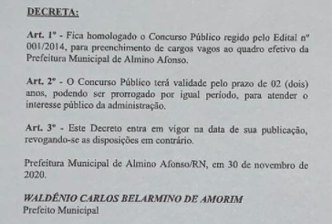 Prefeita de Almino Afonso contrata servidores, sem nomear concursados