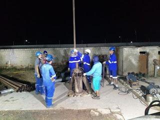 Sonda retira parte do material preso ao poço de Tibau