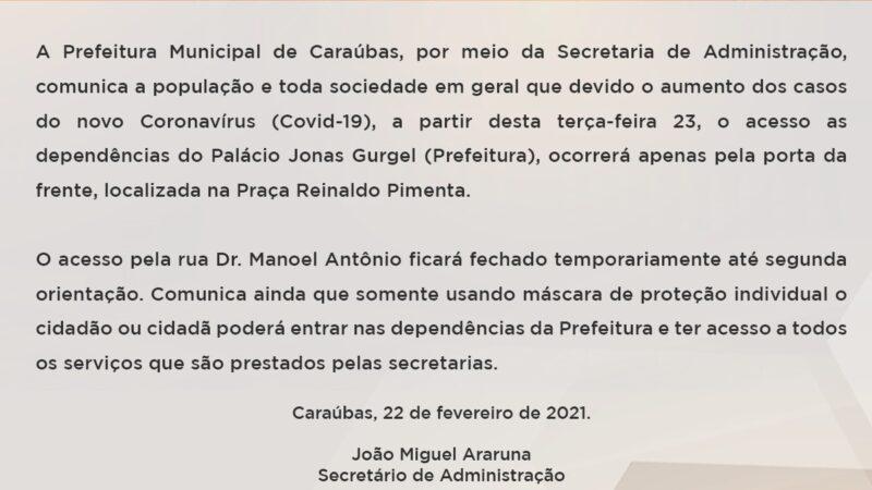 Com aumento de casos de Covid-19 Prefeitura de Caraúbas restringe acesso ao Palácio Jonas Gurgel