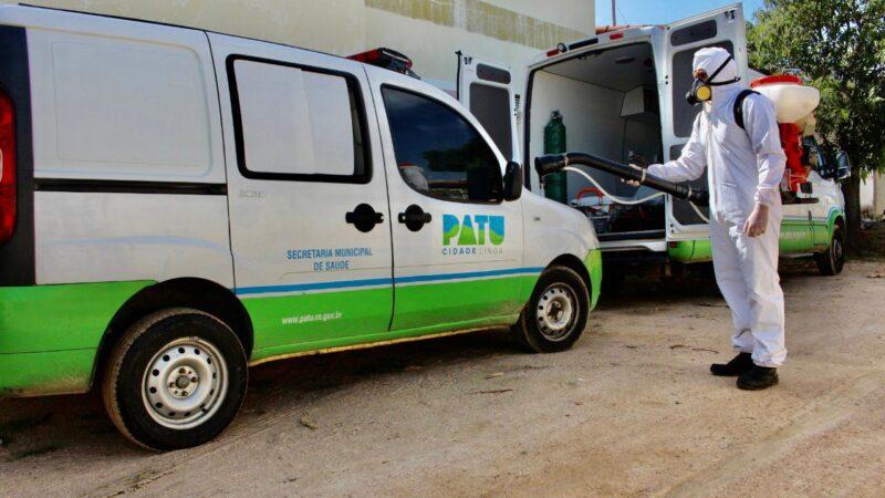 Prefeitura de Patu, realiza desinfecção diária nas ambulâncias, Centro de atendimento à Covid-19 e Hospital Municipal