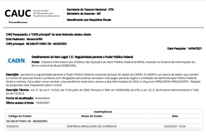 Prefeitura não paga aos Correios e Mossoró entra na lista do CAUC