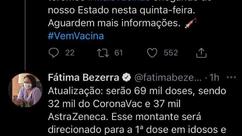 Governadora confirma chegada de 69 mil doses de vacina para o RN amanhã (8)