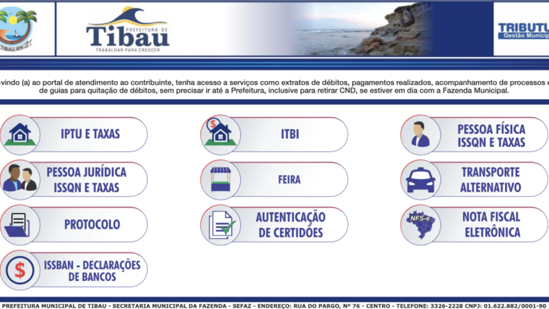 Prefeitura de Tibau disponibiliza serviços online para evitar aglomerações e facilitar para o contribuinte