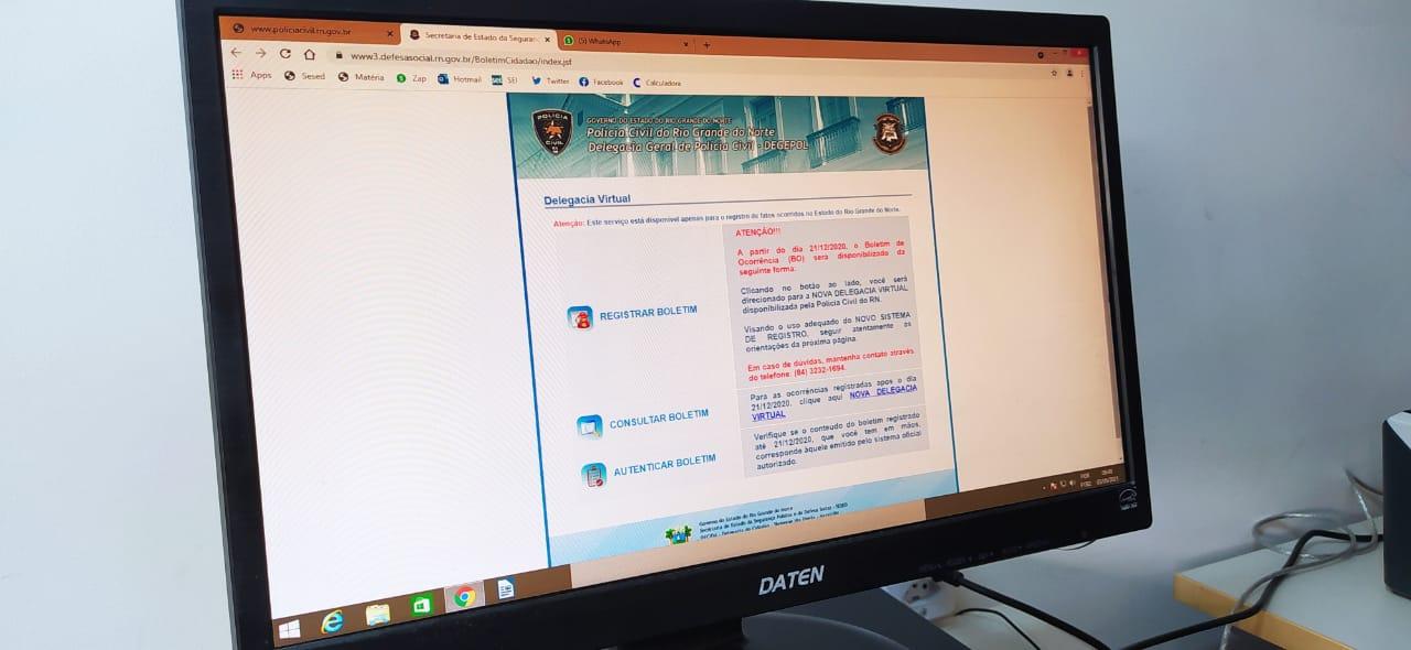 Em quatro meses, Delegacia Virtual do RN soma mais de 23 mil registros