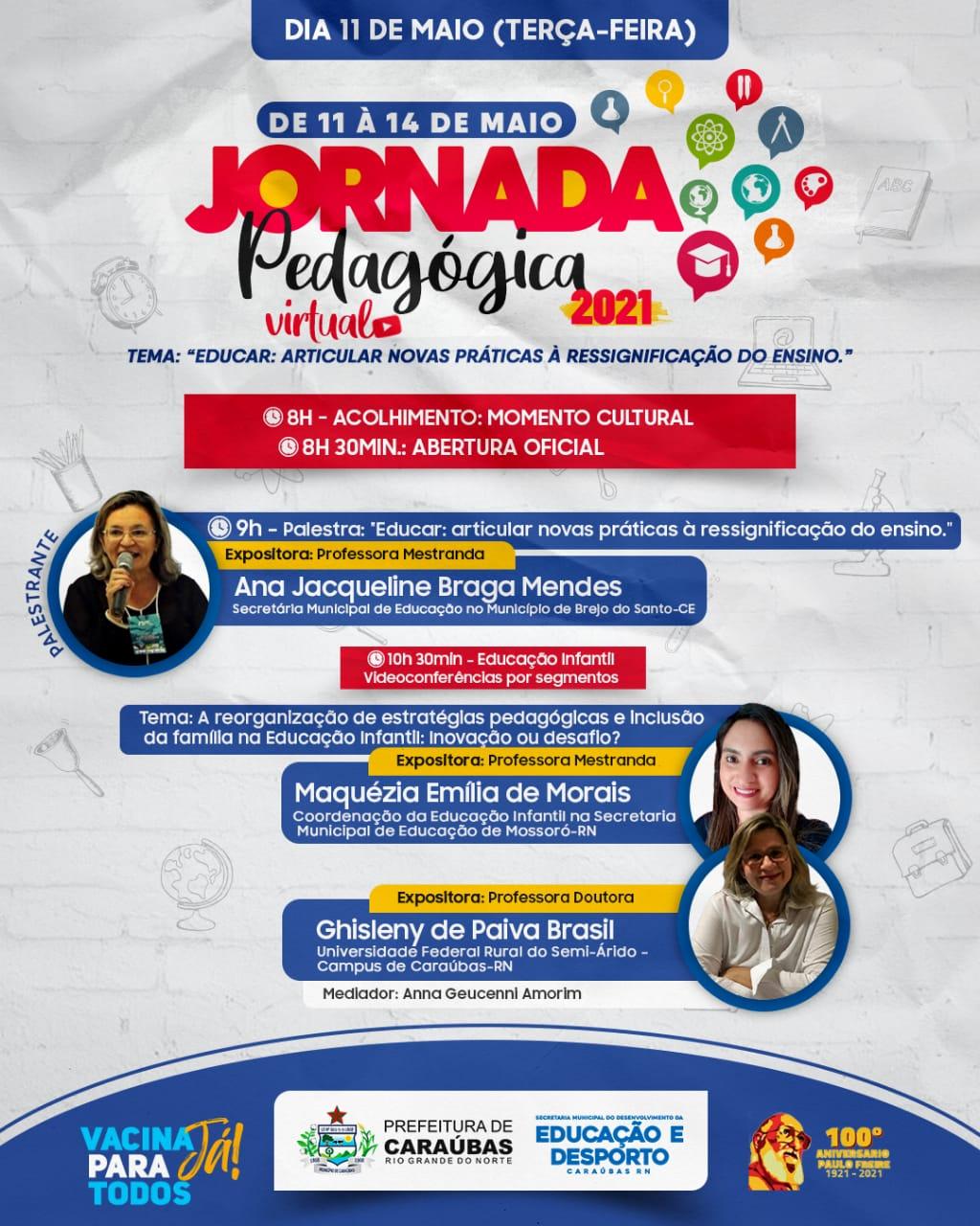 Jornada Pedagógica 2021 em Caraúbas será online