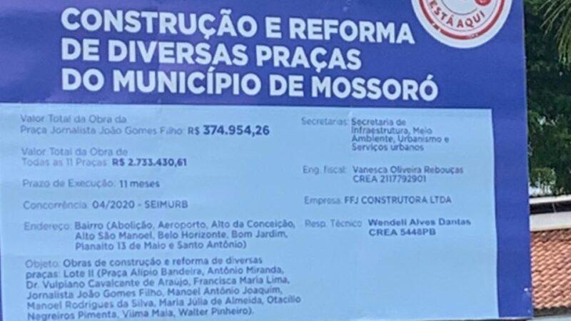 Prefeitura de Mossoró usa falsa informação em placa sobre origem de recursos usados em obras