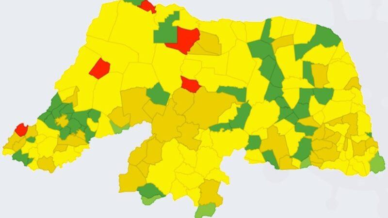 Piora o índices da pandemia em 54 cidades do RN e 5 chegam ao 'nível vermelho'