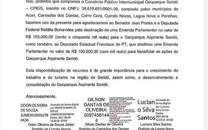 Prefeitos agradecem ao Deputado Francisco do PT pela emenda parlamentar destinada ao Geoparque Seridó