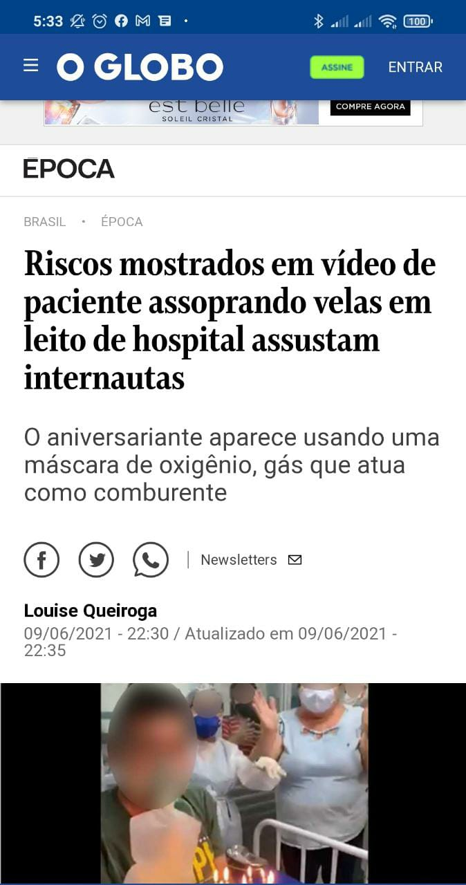 Vídeo de paciente internado com COVID-19 assoprando velas do bolo de aniversário em UPA de Mossoró é destaque na mídia nacional