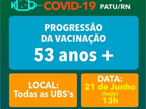Patu recebe nova remessa de vacinas e divulga vacinação de população a partir dos 53 anos