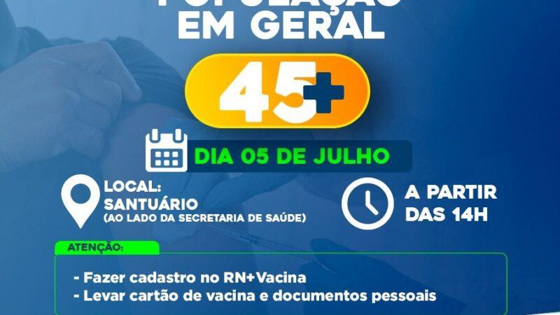 Secretaria de Saúde continua hoje vacinação contra Covid-19 para população em geral acima de 45 anos em Caraúbas