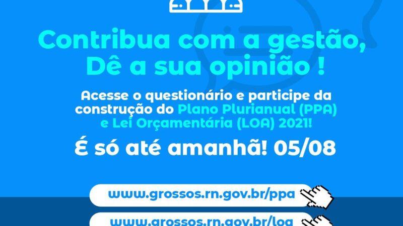 Prefeitura convoca população grossense para elaboração da LOA e PPA