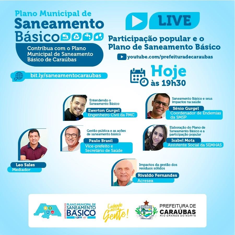 Prefeitura de Caraúbas realizará live para discussão do Plano de Saneamento Básico