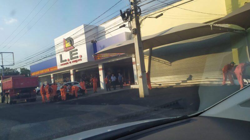 PMM realiza obra em área de estacionamento privado