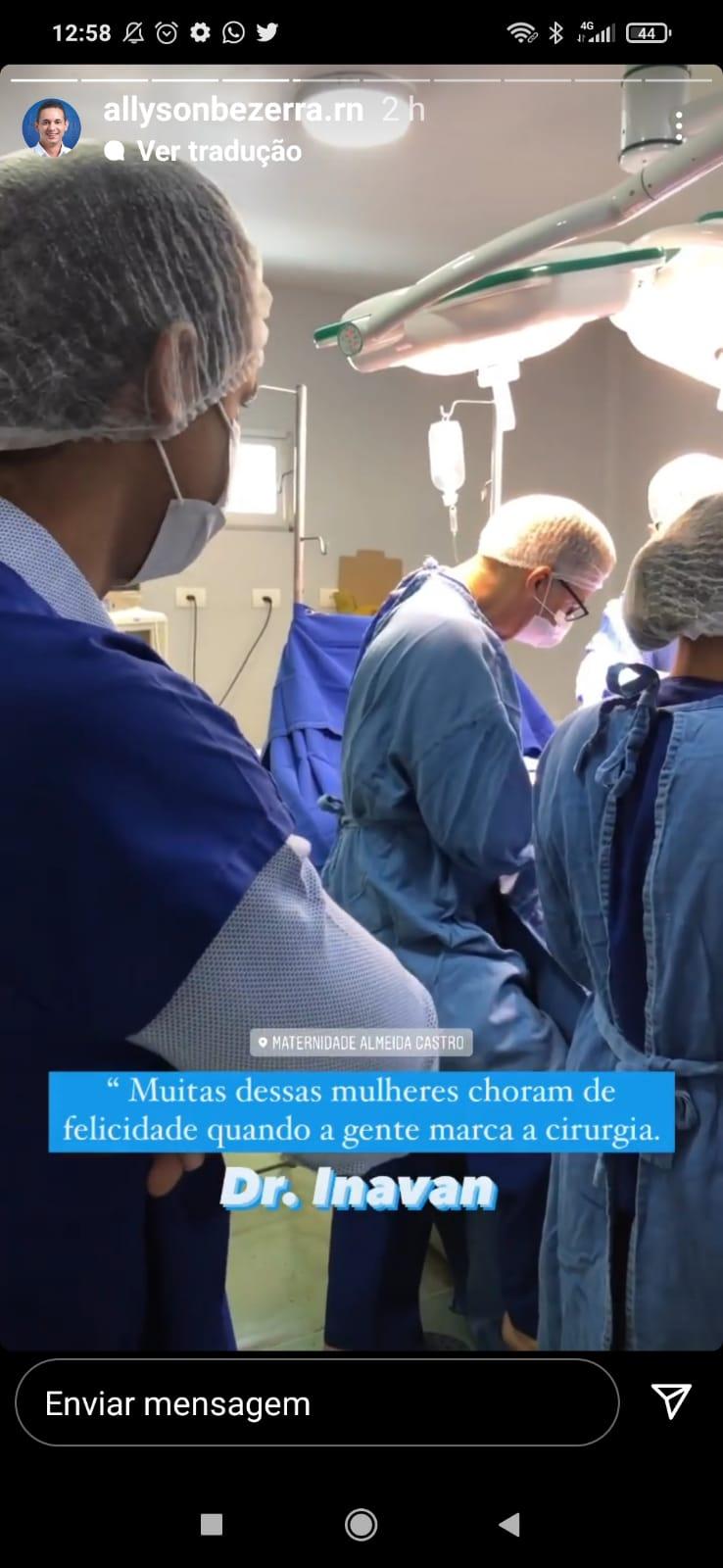 Portal O Antagonista divulga vídeo durante cirurgia ginecológica estrelada por Allyson Bezerra